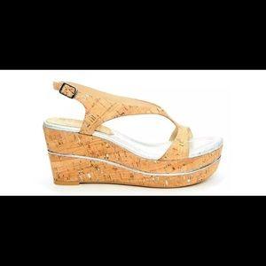 Donald J. Pliner platform cork and foil wedge heel